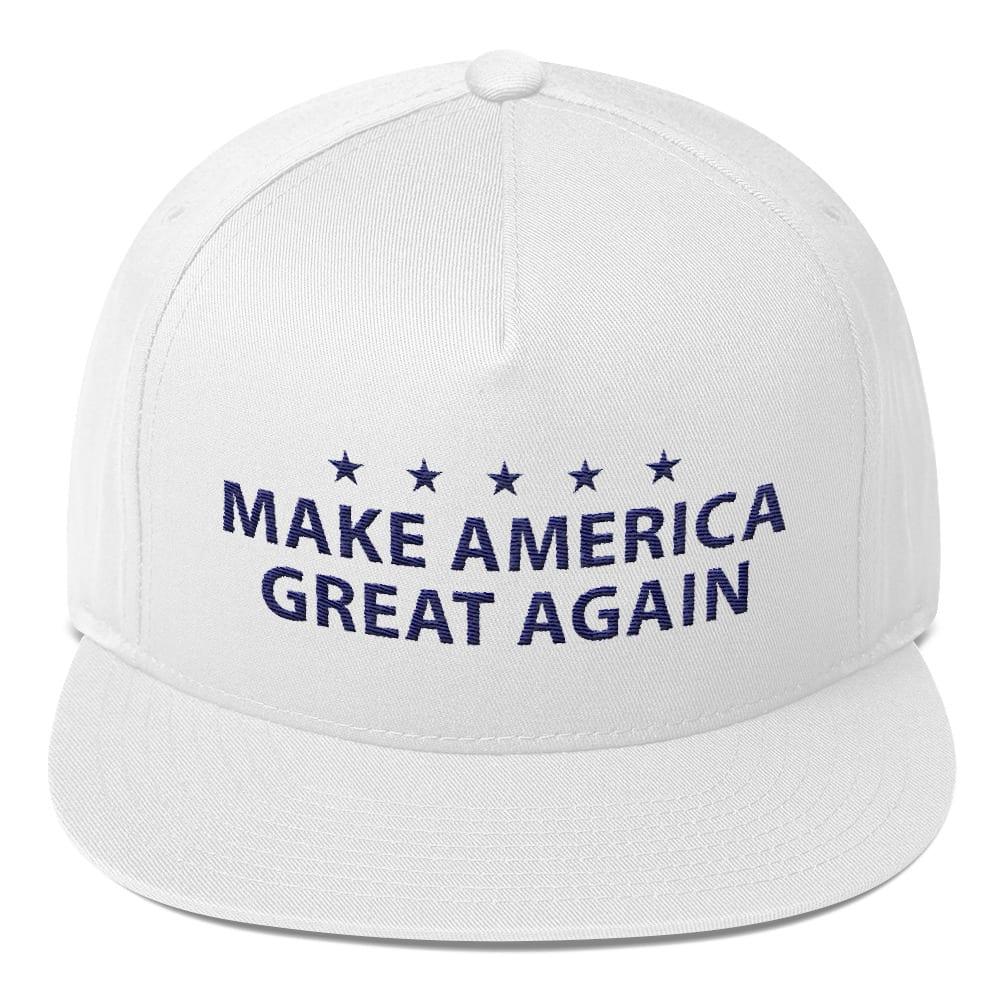 d6b24b0a6ace46 Make America Great Again Classic Trump Flat Bill Cap - White   Navy ...