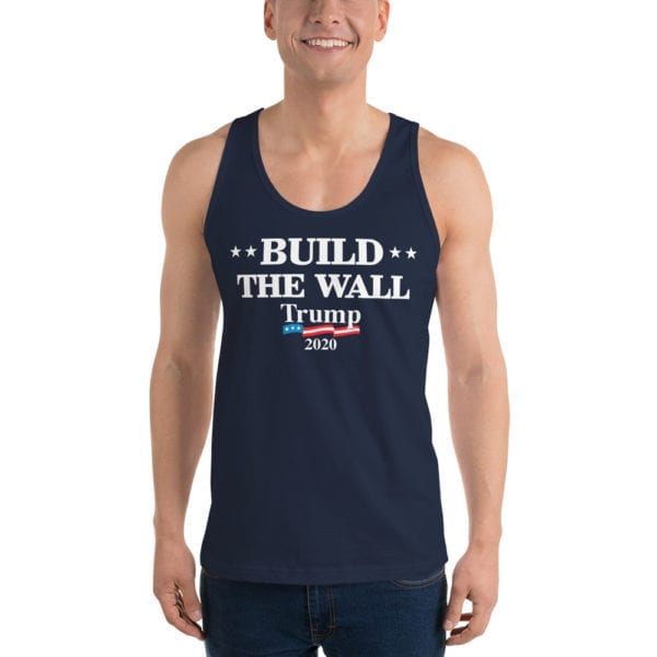 Build The Wall Trump 2020 - Tank Top ( Navy)