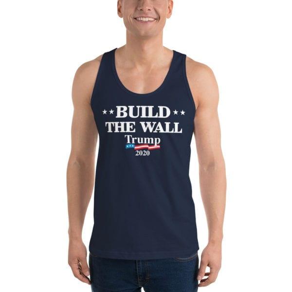 Build The Wall Trump 2020 - Tank Top ( Navy)
