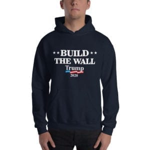 Build The Wall Trump 2020 - Hoodie( Navy)