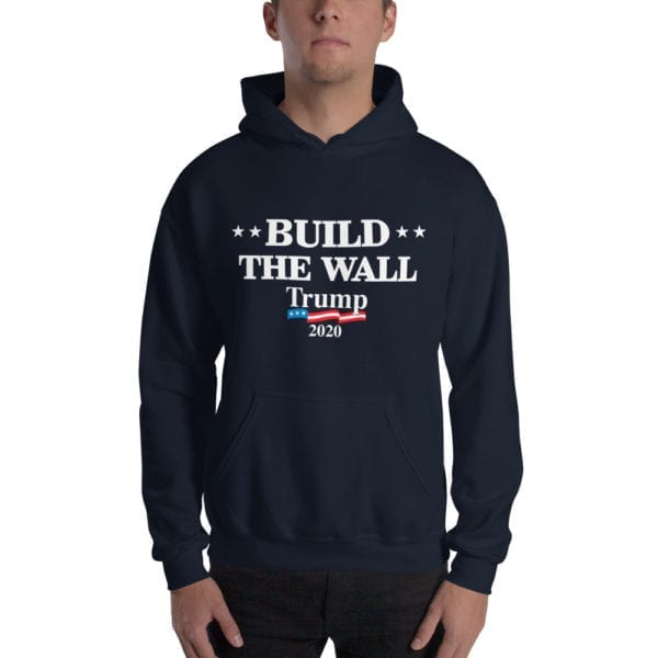 Build The Wall Trump 2020 - Hoodie( Navy)