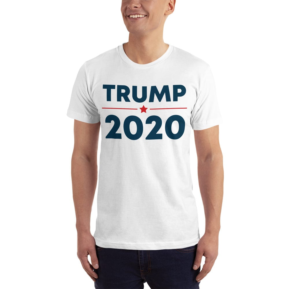 b0c71fe5 Trump 2020 T-Shirt Made In USA. White With Navy - Trump 2020 Online ...